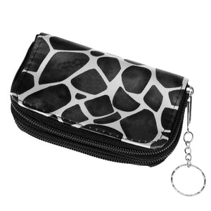 Black Giraffe Print Double Pocket Key Chain Wallet