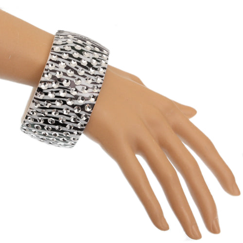 Black White Six Row Zebra Hinged Bracelet