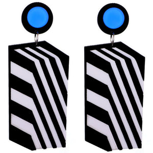 Black White Stripe Geometric Earrings