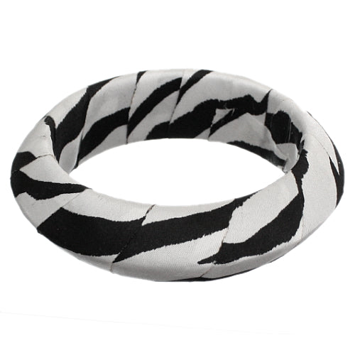 Black White Zebra Print Bangle Bracelet