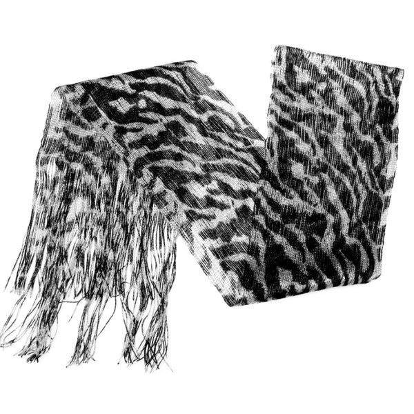 Black White Lightweight 3 in 1 Zebra Print Sheer Scarf