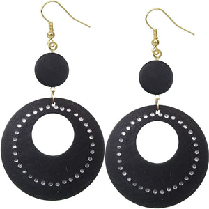 Black Wooden Gemstone Drop Hoop Earrings