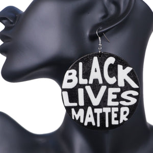 Black Wooden Black Lives Matter Earrings