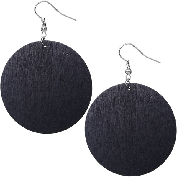 Black Cheetah Print Wooden Earrings