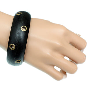 Black Wooden Cutout Bangle Bracelet
