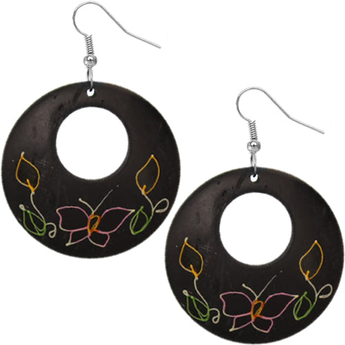 Black Coconut Hand Painted Butterfly Earrings