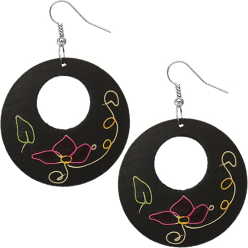 Black Wooden Hand Painted Floral Earrings