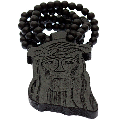 Black Wooden Beaded Chunky Jesus Piece Necklace