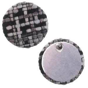 Black Woven Knit Stud Earrings