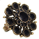 Black Antique Circular Floral Topper Adjustable Ring