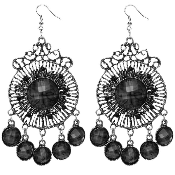 Black Round Faceted Beaded Chandelier Earrings