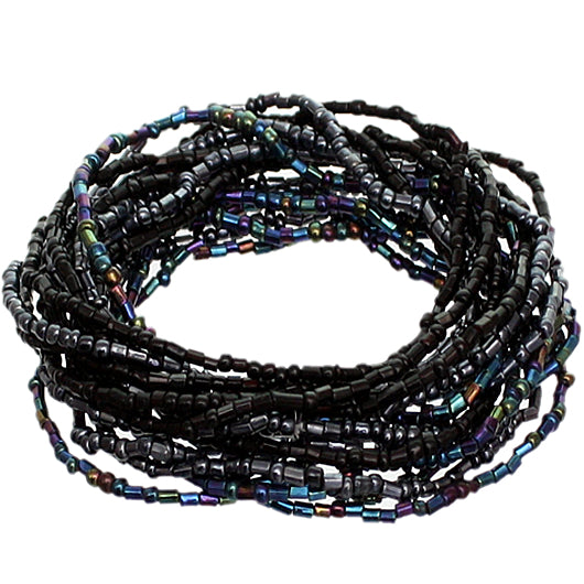 Black Iridescent Beaded Stretch Stacked Bracelets