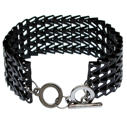 Black Chevron Toggle Chain Bracelet