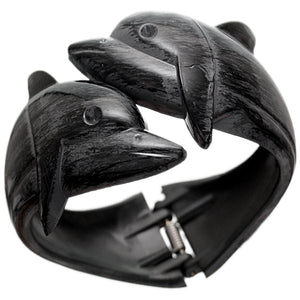 Black Dolphin Textured Hinged Bracelet