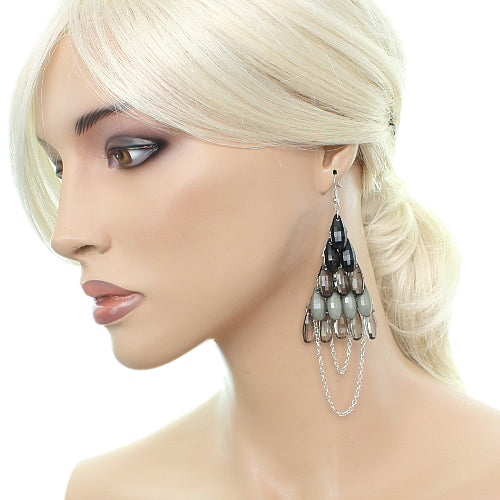 Black Faceted Drop Chain Chandelier Earrings