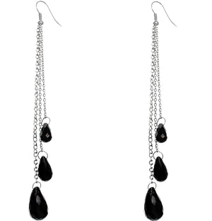 Black Faceted Long Drop Chain Earrings