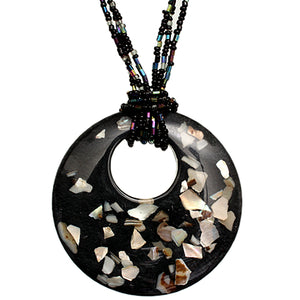 Black Open Circle Faux Marble Beaded Necklace Set