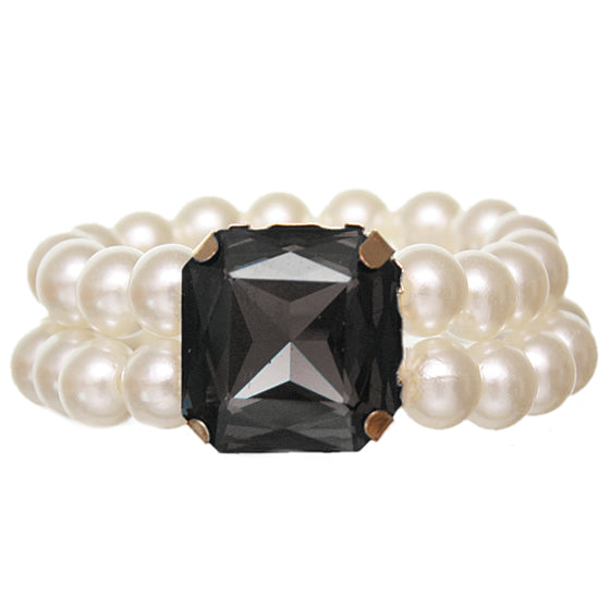 Black Faux Pearl Gemstone Stretch Bracelet