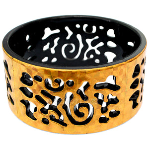 Black Gold Cutout Chinese Textured Bangle Bracelet