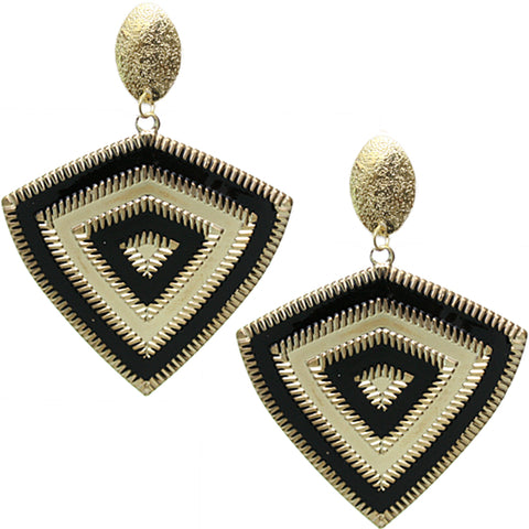 Black Inverted Triangle Frost Earrings