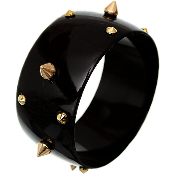 Black Spiked Bangle Bracelet