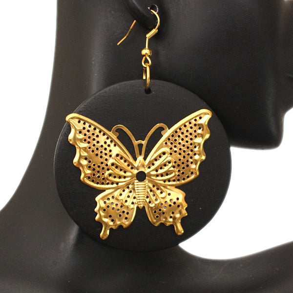 Black Gold Wooden Butterfly Dangle Earrings