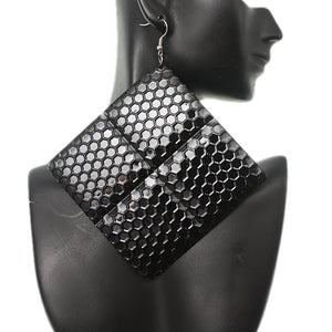 Black Oversized Hammered Honeycomb Pyramid Earrings