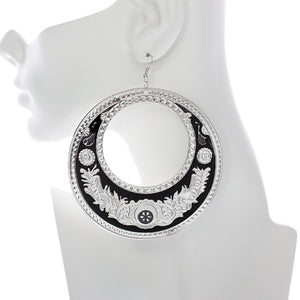 Black Large Texture Design Hoop Earrings