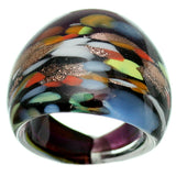 Black Multicolor Speckled Glass Murano Ring