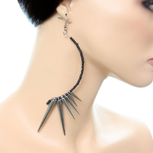 Hematite Black Curve Beaded Spike Earrings
