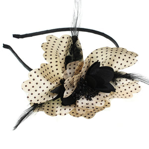 Black Polka Dot Feather Flower Headband