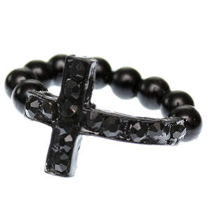 Black Adjustable Rhinestone Mini Cross Ring