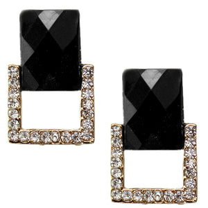 Black Square Gemstone Post Earrings