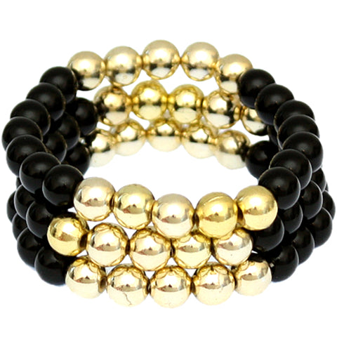 Black Beaded Round Ball Stretch Bracelets