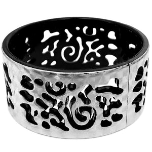 Black Silver Cutout Chinese Textured Bangle Bracelet