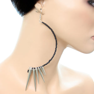 Silver Black Curve Beaded Spike Earrings