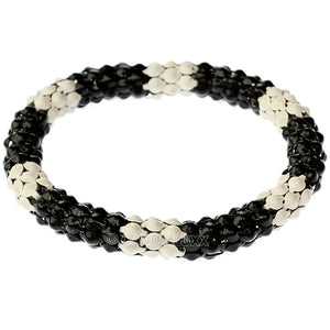 Black White Connected Stretch Bracelet