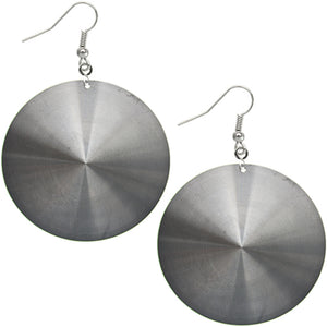 Black Thin Peace Sign Disc Earrings