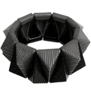 Black Two Tone Triangle Pyramid Stretch Bracelet