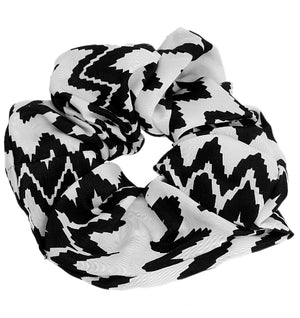 Black White Satin Hair Scrunchie
