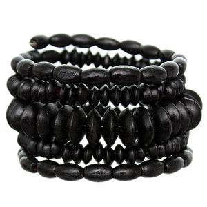 Black Wooden Beaded Coil Wrap Bracelet