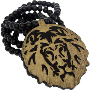 Black Wooden Lion Head Beaded Necklace