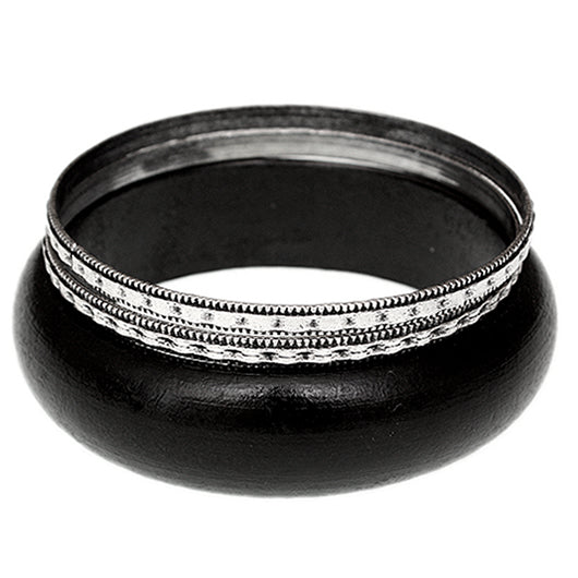 Black Silver Wooden Stacked Bangle Bracelets