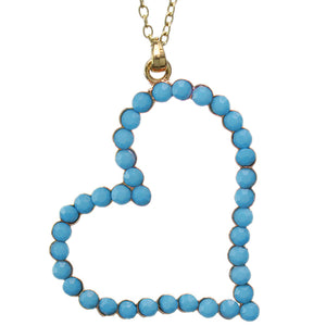 Blue Beaded Heart Charm Chain Necklace