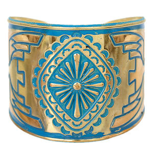 Blue Double Sided Art Deco Metal Cuff Bracelet