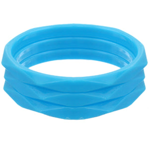 Blue 3-Piece Flat Design Stacked Bracelets