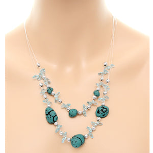Blue Beaded Illusion Invisible Necklace Set