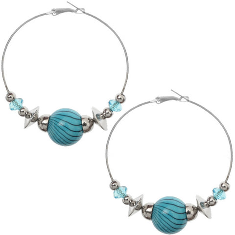 Blue Beaded Medium Hoop Earrings