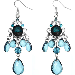 Blue Elegant Beaded Chandelier Dangle Earrings