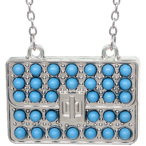Blue Beaded Charm Handbag Chain Necklace